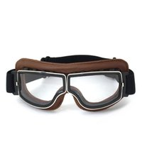 aviator leather helmet - NEW Arrival Retro Universal Scooter Goggles Vintage motorcycle goggles Jet Helmet Glasses Brown Leather Frame Aviator Goggles
