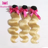 Cheap 3 Pcs Lot 7A Ombre Hair Extensions Brazilian Virgin Hair Body Wave Two Tone Color 1b 613 Human Hair Omber Human Hair Weaves