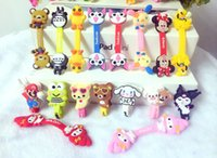 Wholesale 2015 Cartoon animal shape winder cable bobbin winder hone holder Silicon rubber button reel RXQ8