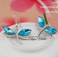 Wholesale Christmas Gift PresentWG E050 Dragonfly Earring Inlay Crystal Nickel Free White Gold Plated Insect Jewelry
