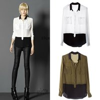 assorted blouse - 2014 New Fashion Womens Turn down Collar Assorted Color Long Sleeve Chiffon Patchwort Blouses Casual Shirt