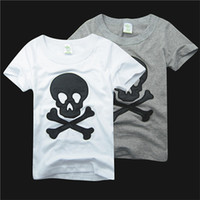 Wholesale 5pcs Pure Cotton Summer Children Cartoon Tshirt Embroider Beard And Skull Short Sleeve Kid s Boy Girl T Shirt Year Child Clothing D015