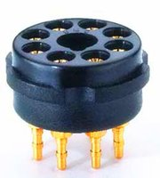 bakelite pin - CMC pins gold plated bakelite big eight foot tube holder KT66 KT88 SL7 SN7 V6