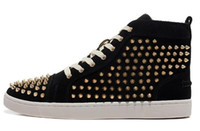 Cheap New design brand men and women's gloden spikes black matter leather red bottom high top sneakers,designer couples causal flat shoes 36-