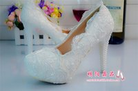 Cheap Pearls Lace Wedding Shoes Best High Heels Women Bridal Shoes