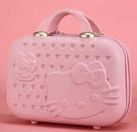 Wholesale 2016 Hello kitty women make up case business travel handbag boarding luggage boy girl students cartoon suitcase color choice