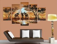 african elephant artwork - African Animal Landscape oil painting canvas Abstract Elephants Drinking Water Artwork handmade home office hotel wall art decor Free Ship