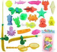 bathtub models - High quality Magnetic Fishing Toy Rod Model Net Fish Kid Children Baby Bath Time Fun Game Bath Toys with mini Bathtub