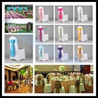 Wholesale wedding party hotel chair back flower bow satin chair back yarn decorative ribbon flower
