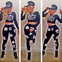 crop tops - Black celebrity poker print bodycon jumpsuit Keyshia Kaoir crop top bottom pants two piece set Las Vegas style playsuit club party bodysuit