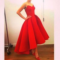 Wholesale Red Vintage Hi Lo Arabic Prom Dresses Simple Modest A line Evening Party Gowns Sexy Sweetheart Zipper Back Ruffled Satin Cheap Formal Gown