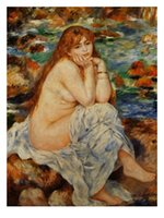 One Panel banks paintings - Pierre Auguste Renoir Paintings for sale Bather Seated on a Sand Bank Modern art Home Decor High Quality Handmade