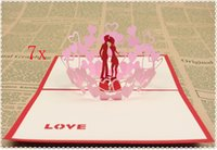 Wholesale d handmade card Valentine s Day Gift box Butterfly Creative D Pop UP Gift Cards
