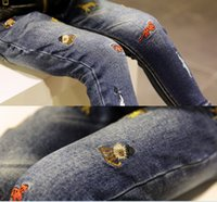 animal embroidery patterns - 2015 Autumn New Children Denim Pants Cartoon embroidery pattern Girls Jeans Fashion Style Thickened Kids Cowboy Pants T804