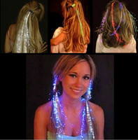Wholesale Led Fiber Hair Colorful Barrette Flash LED Braid Hair Decoration For Halloween Christmas Party Holiday Colorful