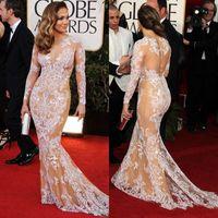 long sleeve evening dresses - 2014 Oscar Sexy Zuhair Murad Jennifer Lopez Lace Bateau Sheer Mermaid Prom Dresses Long Sleeve Evening Gowns Celebrity Dresses