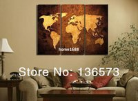 Cheap Handmade oil painting 3 piece canvas wall art brown world map pictures modern abstract paintings for living room wall for sale