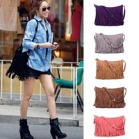 womens wholesale handbags - Womens Tassle Tassel Fringe Faux Suede Shoulder Messenger Crossbody Bag Handbag