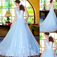 light blue wedding dress - 2015 Garden Light Sky Blue Wedding Dresses Deep V neck A line Tulle Appliques Lace Flowers Bridal Gowns Court Train Open Back Brides Dress