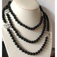 "Gros belle 8-9mm noires de Tahiti SOUTH SEA collier de perles 60 ""AAA 14K"