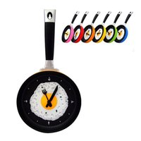 Wholesale Hot Novelty clock Creative wall clocks fried eggs pan shaped wall clock different colors to choose