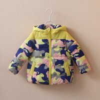 Wholesale Christmas Boy Baby Girl Clothes Warm Winter Thick Jacket Cotton padded Waterproof Fabric Camouflage Sizes Factory Price Free DHL
