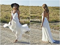 Cheap 2015 Boho White Spaghetti Strap Beach Wedding Dresses Appliqued Backless Lace Bridal Gowns Cheap Custom Made Free Shipping HS288