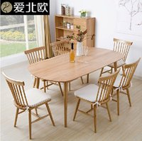 Wholesale Solid wood dining table and chairs rectangle white dining table simple Japanese furniture