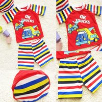 truck caps - 2015 boys cartoon train swimsuit kids boy colorful cap trucks printing shirt striped swim trunks set beach suit J052006 DHL FREE