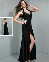 Wholesale Straight Slit Prom Dresses - Sexy Celeb Silver Sequin Beading Cap Sleeve Long Straight V-neck Side Slit Prom Dress Evening Gowns Open Back