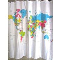 bath curtain map - New Creative Stylish World Map Bath Shower Curtain With White Plastic C type Hook