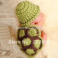 Cheap Sanwony Baby Girl Boy Newborn Turtle Knit Crochet Clothes Beanie Hat Outfit Photo Props Free shipping & wholesale