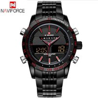 Wholesale NAVIFORCE Brand Watches ATM Original Fashion Design Analog Digital LED Casual Watches Stainless Steel Dual Time Zone Watch