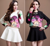 ladies white skirt - Hot sale Ladies Floral Outfits Big Size Clothing Girls Long Sleeve Flower Printed T shirt Tutu Short Skirt Set Black White M2912 BJ