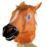 Wholesale RUBBER HORSE HEAD MASK PANTO FANCY DRESS PARTY COSPLAY HALLOWEEN ADULT COSTUME
