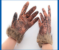 best scary costumes - Halloween Costume Wolf Paw Design Gloves with Fur For Men Style Best Scary Costume Party Bar Dress