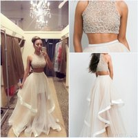 Wholesale Luxurious Two pieces summer beach Evening dresses shimmery sequns beading top ruffles tulle skirt prom gowns sexy party dresses p