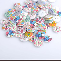 Wholesale 50pcs mm Holes Round Wooden buttons Mix For handmake Scrapbooking Crafts YX003X