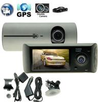 achat en gros de gps enregistrement de la caméra-Caméra Double Caméra DVR R300 avec GPS et 3D G-Sensor 2.7