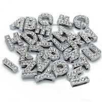 8mm slide charms - DIY Bracelets MM Loose Beads A to Z Letters Beads Silver Rhinestone Jewelry Accessories Slide Letter Charm Bracelet D005