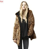 warm up jackets - 2015 Autumn Winter Jackets Womens Leopard Printed Zipper Up Hooded Coat Faux Fur Jacket Long Sleeve Warm Outwear Ladies Clothing Brown