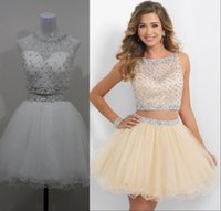 Wholesale 2015 New Champagne Homecoming Dresses Short Two Piece Prom Dresses Tulle Beaded Rhinestones Crystal Mini Backless Party Cocktail Gowns