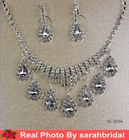 Reference Images classic wedding dress - Silver Bridal Jewelry Sets Rhinestone Pendant Necklaces and Clip Chandelier Earrings Arabic Saudi Arabia Wedding Prom Dresses Accessories