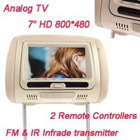 analog tv transmitter - 2pcs inch HD LCD Car Headrest Monitor DVD Player With Analog TV IR Infrade FM Transmitter Remote Controller SD MS MMC