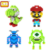 Wholesale Mini Qute LNO characters cm box kawaii Monsters Inc university Mike nano Mario puzzle cartoon movie model children educational toy