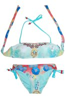 bandeau swim wear - Ladies Bandeau Bikini Swimwear Women New Sexy Swimsuit Beach Wear Female Swimming Suit Flower Print With Rhinestone Removable Cup