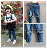 Wholesale 2015 new Children s Jeans Boys Girls rivet jeans hole lace children trousers baby clothes CY2904