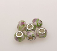 Cheap MIC 100pcs Silver Core Endearing Flower Murano Glass Beads Fit Charms Bracelets 14 x 10mm Jewelry DIY free shipping (375)