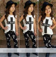 Wholesale Y Summer Baby Kids Girl LOVE T shirt Outfits Tops Pants Set Clothes