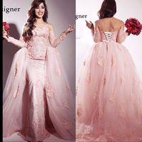 arabic singers - 2015 Arabic Myriam Fares Singer Evening Dresses Lace Appliques Pink Tulle Mermaid Dubai Arabic Long Detachable Train Skirt Prom Party Gowns